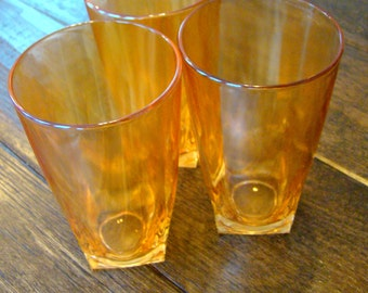 Vintage Marigold Honey Iridescent Carnival Glass Cups / Tumblers Set of Three
