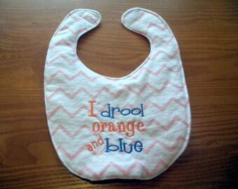 Auburn University  I Drool Orange and Blue Embroidery Handmade Baby Bib on Pink Chevron