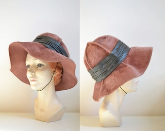 Vintage 1960s Christian Dior Hat / 60s Floppy Wide Brim Brown Faux Fur Hat