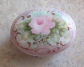 Porcelain Trinket Box Ring Tooth Fairy Hand Painted Pink Rose Gilded Vintage