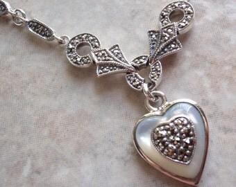 Sterling Heart Necklace MOP Mother of Pearl Marcasites Vintage V0225