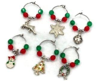 CIJ SALE 15% off CHRISTMAS Themed Wine Glass Charms Holiday Set of 6