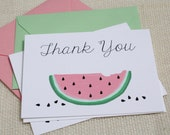 Illustrated Watermelon Slice Mint and Pink Thank You Cards - Set of 8 Cards and Envelopes
