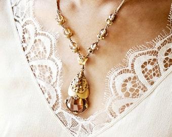 Gold Edwardian Necklace Antique Art Nouveau Gilded Brass Filigree Golden Topaz Crystal Glass Pendant Wedding Bridal Statement