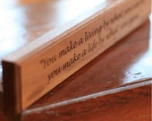 Winston Churchill Quote on Life Engraved in Wood