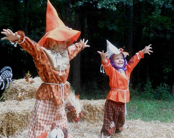 """C167  Ready To Ship in 1 Week     Adorable """"Oaklee""""  Scarecrow Halloween Costume  Child's 4"""