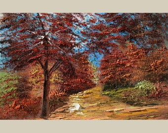 ORIGINAL Oil impasto Painitng Colorful Landscape painting on canvas Park Trees Red Orange Brown Fall Green Blue Sky handmade ART Marchella