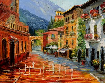 ORIGINAL Oil painting impasto on canvas Large Italian painitng Village Handmade Palette Knife Sunny Flowers Villa Yard Colorful Marchella
