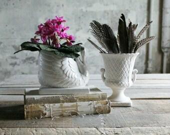2 Vintage Mattware White Vases / Planters