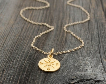 Gold Compass Necklace - Matte 24K Gold Dipped Compass Pendant . Gift Ideas for Her, Graduation . World Traveler