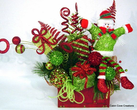 Snowman treasure chest floral arrangement by