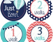 Monthly Stickers for Boys - Up up and Away! - Just Born to 3 Weeks - Hot Air Balloons - Etsykids Team - Babys First Year Milestone Stickers