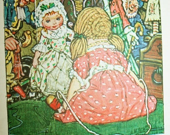 Lucy Gets Acquainted with the Puppets Original 1928 Book Page for Framing Lucy Locket The Doll with the Pocket Color Collage Art