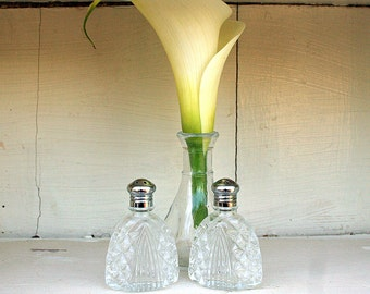 Vintage Pressed Glass Salt and Pepper Shakers Art Deco Look Metal Lids