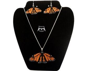 Elegant Orange Butterfly Earrings and Large Pendant Set