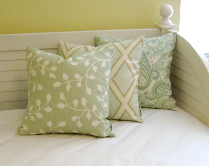 Kravet Woodlawn in Celadon Green Linen Designer Pillow Cover - Square, Lumbar, Euro and Body Pillow Cover, Designer Fabric