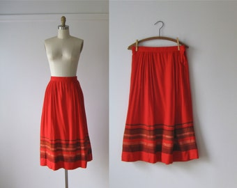 vintage 1970s skirt / 70s skirt / Red Chilis