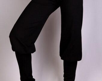 Black Punjab Pants in  Rayon Lycra - Dance wear, Yoga wear, Active wear, Casual wear