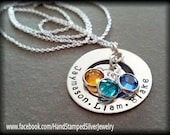 Circle Of Love Hand Stamped Personalized 3 Names Children, Grandchildren, Mothers Grandmothers Necklace