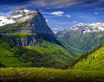 Scenic Mountain Range at Glacier National Park in Montana No.1612 Color Wall Decor Fine Art Rocky Mountain Landscape Photograph