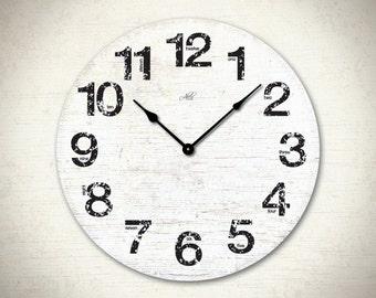 LONDON - 18in Large Wall Clock in Blue, White, Brown, Black. Rustic Clock. Custom Clock. Nursery Wall Decor. Office Clock. Ready to Ship