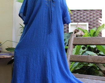 Double Layers Cotton Dress - Saranya 1409-03 Blue