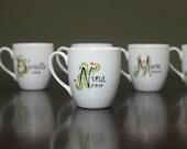 Personalized Ceramic Mug Hand Painted tea cup Name cup Monogram white kitchen decor Decorative Art