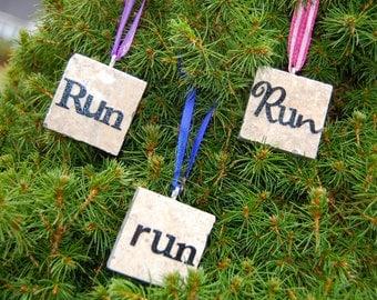 Run Tile Ornament for Runner Walker Various Funky Fonts