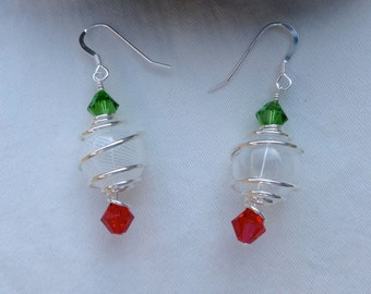 Red and Green Christmas Lantern Earrings