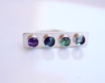 Fluorite Bar Ring in Sterling Silver