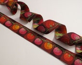 Red Tomato on the Vine Design Polyester Jacquard Ribbon--One Yard