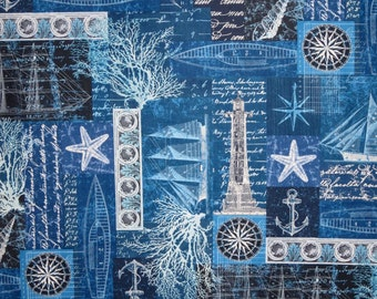 Navy Blue Nautical Collage Print Pure Cotton Fabric--One Yard