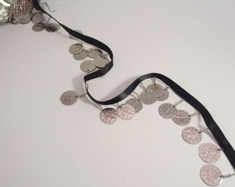 Shiny Silver Color Coin Fringe Trim on Black Ribbon--One Yard