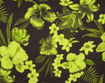 Chartreuse on Chocolate Brown Tropical Floral Print Pure Cotton Fabric--One Yard