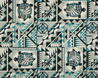 Teal and Black Tucson Turtles Southwest Print Pure Cotton Fabric-By the Yard