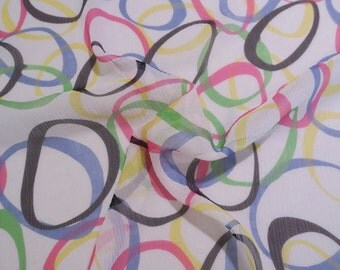 SPECIAL--Colorful Op Art Print Pure Silk Crinkle Chiffon Fabric-One Yard