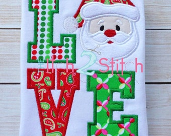 Santa Love Applique Design In Hoop Size(s)  5x7, & 6x10 INSTANT DOWNLOAD now available