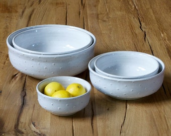 Serving Bowls - White Polka Dot Wide Mouth Bowls - Nesting Bowls - Set of 5