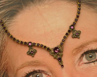 In Place of a Bindi - Amethyst Jeweled Goddess Forehead Adornment