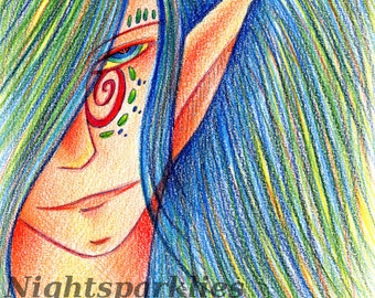 4x6 Printed Postcard, Kelpie, Naiad, Celtic, Norse, Germanic, Mythology, Elf, Woodland Forest Creature, Mystic, Shaman, Wizard