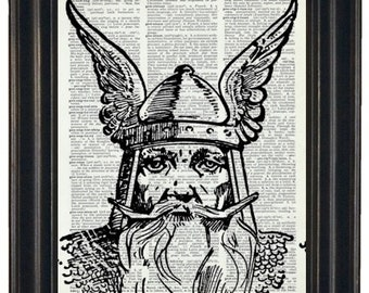BOGO SALE Dictionary Art Print Viking Dictionary Art Print  Upcycled Vintage Dictionary Book Page Print