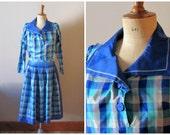 vintage FRENCH RIVIERA sailor blouse, skirt and shorts set / vintage checked blue hues set