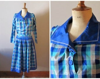 vintage FRENCH RIVIERA sailor blouse, skirt and shorts set / vintage checked blue hues set