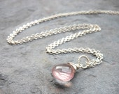 Petite Rose Quartz Necklace Pendant Style Drop Glowing Pink Stone Sterling Silver