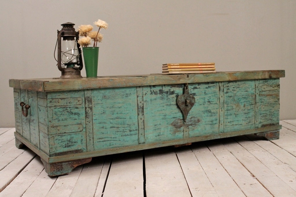 Turquoise green reclaimed salvaged antique indian wedding Indian trunk coffee table