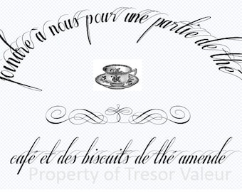 Vintage Chic French Typography Tea Cup Ephemera.  Downloadable File.