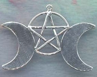 Sterling Silvedr )O( Moon Pentacle Pentagram Wiccan Pagan Witch Jewelry  Pent129