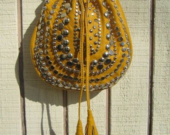 Stone ground Mustard yellow lamb skin studded cross body purse