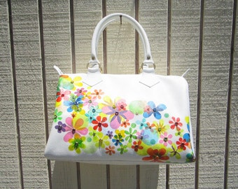Haind painted Flower white leather Satchel