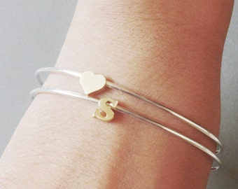 Set of Two Silver bangle bracelets Gold initial Bracelet Lowercase personalized monogram bridal anniversary mom girlfriend Valentines day